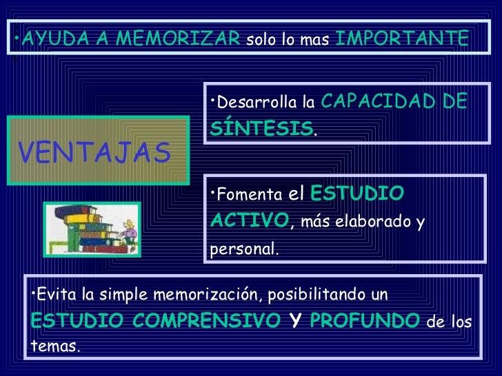 VENTAJAS   <ul><li>Desarrolla la   CAPACIDAD DE  SÍNTESIS .  </li></ul><ul><li>Fomenta  el  ESTUDIO   ACTIVO ,  más elabor...