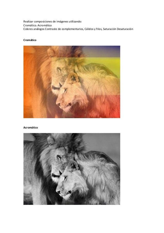 Realizar composiciones de imágenes utilizando: Cromático. Acromático Colores análogos Contraste de complementarios, Cálido...