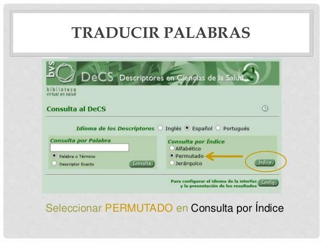TRADUCIR PALABRAS Seleccionar PERMUTADO en Consulta por Índice