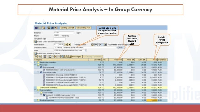 Material Price Analysis – In Group Currency Allows you to view the report in multiple currencies/ valuation Real-time valu...