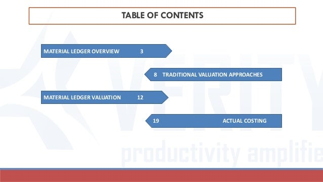 TABLE OF CONTENTS MATERIAL LEDGER OVERVIEW 3 MATERIAL LEDGER VALUATION 12 8 TRADITIONAL VALUATION APPROACHES 19 ACTUAL COS...