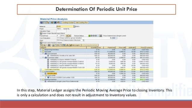 Determination Of Periodic Unit Price In this step, Material Ledger assigns the Periodic Moving Average Price to closing In...