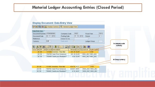 Material Ledger Accounting Entries (Closed Period) In company code currency In Group currency