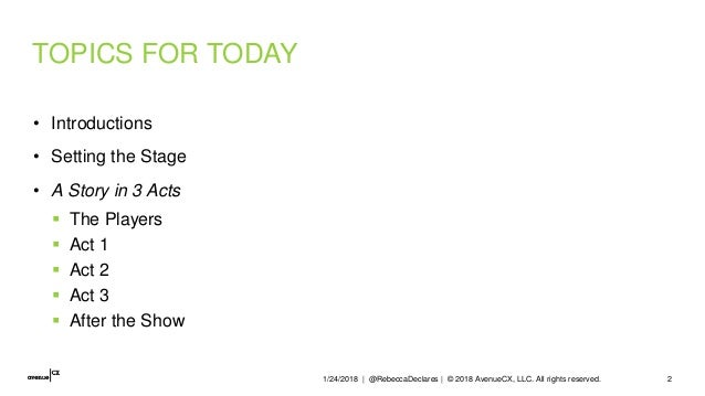 TOPICS FOR TODAY • Introductions • Setting the Stage • A Story in 3 Acts  The Players  Act 1  Act 2  Act 3  After the...
