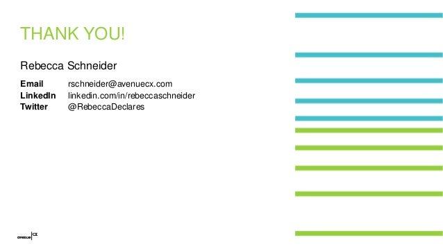 THANK YOU! Rebecca Schneider Email LinkedIn Twitter rschneider@avenuecx.com linkedin.com/in/rebeccaschneider @RebeccaDecla...