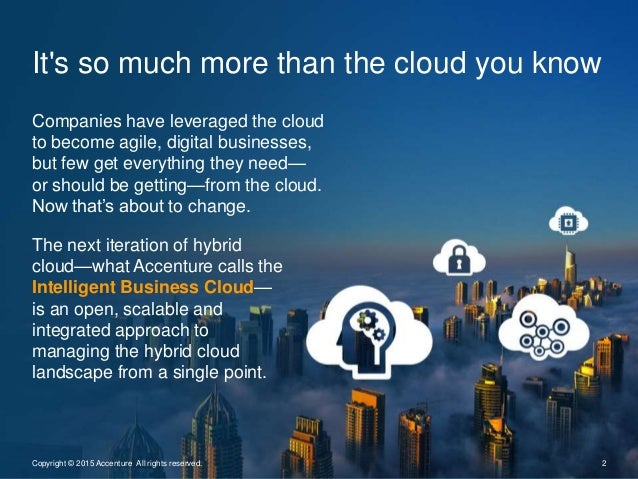 It's so much more than the cloud you know 2Copyright © 2015 Accenture All rights reserved. Companies have leveraged the cl...