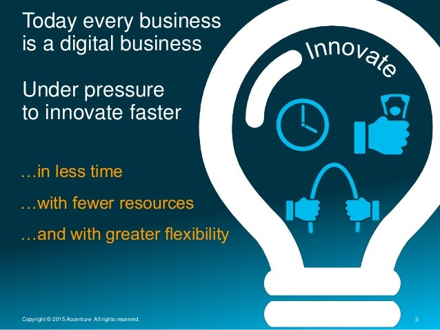 Today every business is a digital business Under pressure to innovate faster 3Copyright © 2015 Accenture All rights reserv...