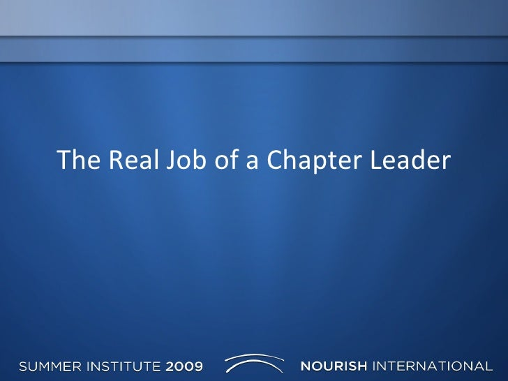 The Real Job of a Chapter Leader