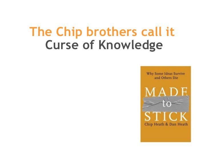 The Chip brothers call it  Curse of Knowledge