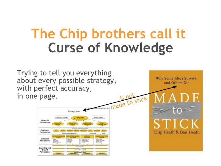 The Chip brothers call it  Curse of Knowledge Trying to tell you everything  about every possible strategy,  with perfect ...