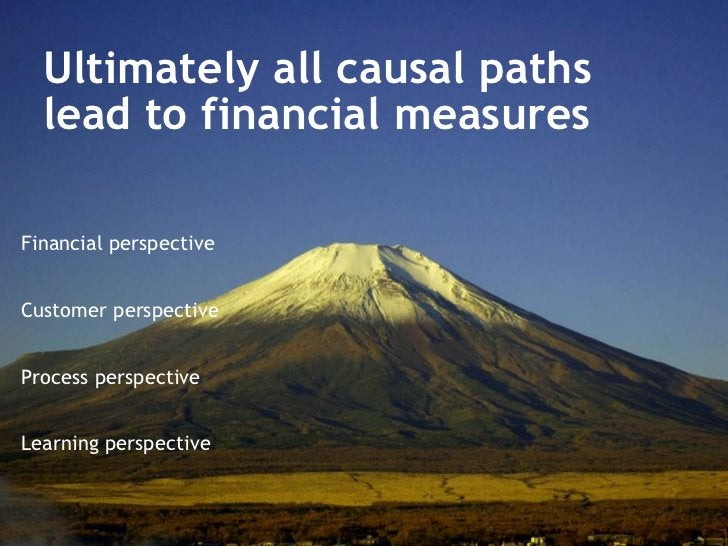 Ultimately all causal paths  lead to financial measures Financial perspective Customer perspective Process perspective Lea...