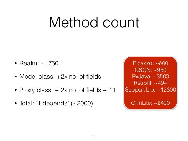 """Method count • Realm: ~1750 • Model class: +2x no. of fields • Proxy class: + 2x no. of fields + 11 • Total: """"it depends"""" (~..."""