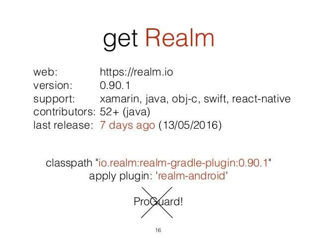 get Realm 16 web: version: support: contributors: last release: https://realm.io 0.90.1 xamarin, java, obj-c, swift, react...
