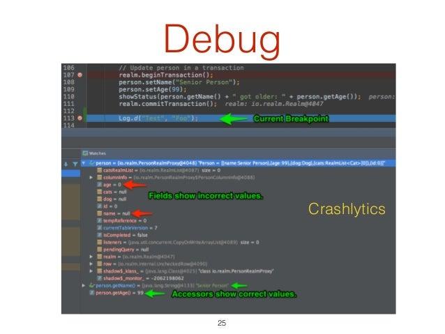 Debug 25 Crashlytics