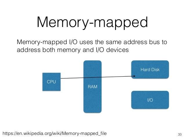 Memory-mapped 33 Memory-mapped I/O uses the same address bus to address both memory and I/O devices CPU RAM Hard Disk I/O ...