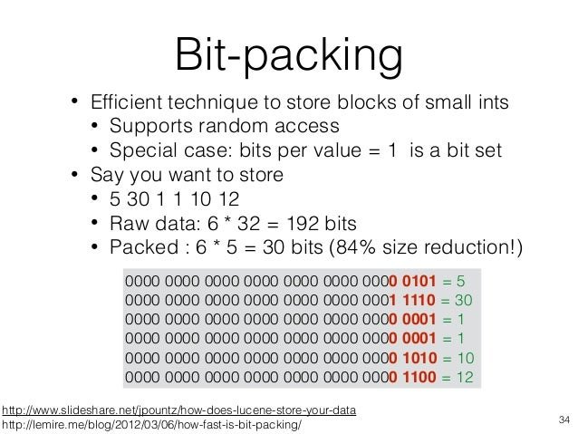 http://www.slideshare.net/jpountz/how-does-lucene-store-your-data http://lemire.me/blog/2012/03/06/how-fast-is-bit-packing...