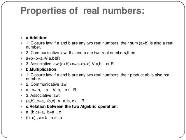 real number properties Learn properties of real numbers study guide facts using a simple interactive process (flashcard, matching, or multiple choice) finally a.
