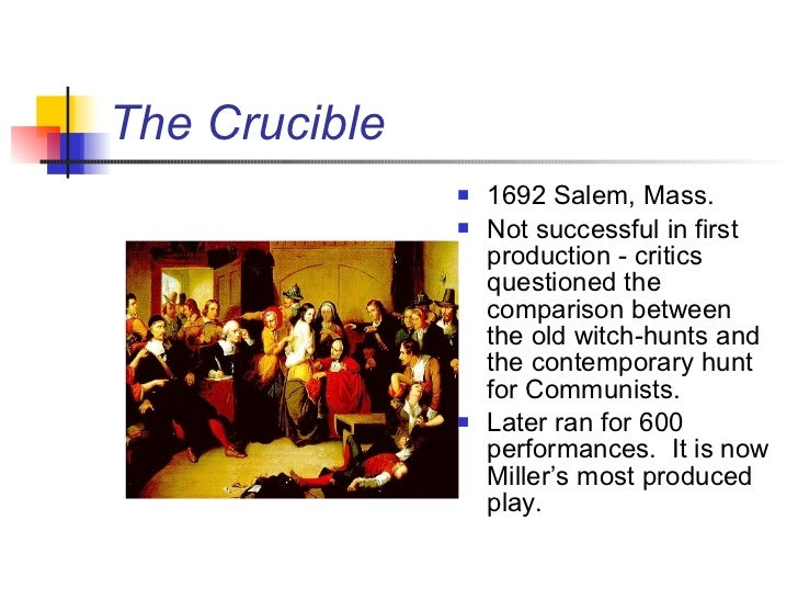 a comparison between the crucible by arthur miller and the mccarthy hearings of the 1950s 2 do you see a parallel between the salem witch trials of the 1700s and the mccarthy trials of the 1950s  ever read the crucible, the author, arthur miller,.