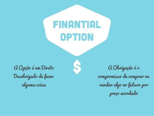 FINANTIAL OPTION A Opção é um Direto Desobrigado de fazer alguma coisa A Obrigação é o compromisso de comprar ou vendar al...