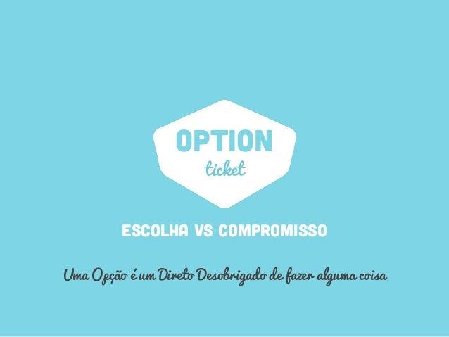 OPTION ESCOLHA vs compromisso ticket Uma Opção é um Direto Desobrigado de fazer alguma coisa