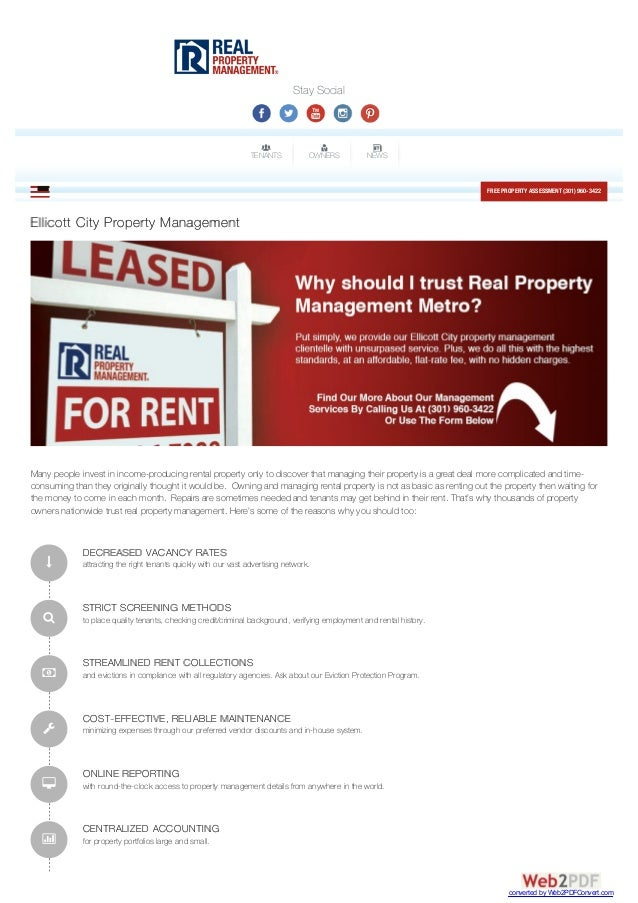 Stay Social TENANTS OWNERS NEWS FREE PROPERTYASSESSMENT (301) 960-3422MENUEllicott City Property Management Many people in...