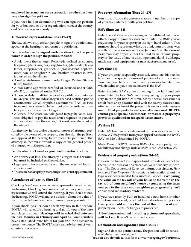 Property Tax Appeals Real Property Petition And Instructions For Fili