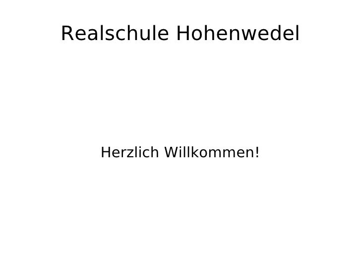 Realschule Hohenwedel Herzlich Willkommen!