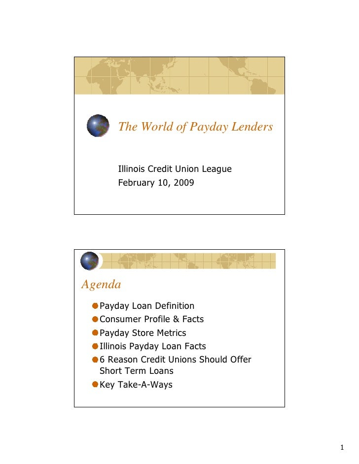 """The World of Payday Lenders     Agenda              !    """"#                $   %    $ &   ' & ( )*)+"""