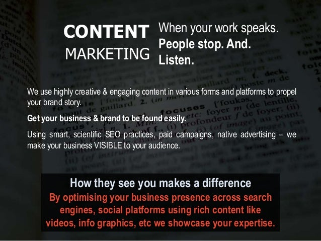 How they see you makes a difference By optimising your business presence across search engines, social platforms using ric...