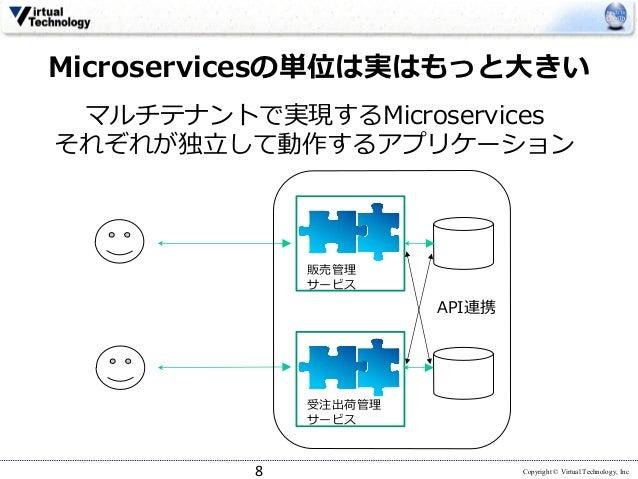 Copyright © Virtual Technology, Inc マルチテナントで実現するMicroservices それぞれが独⽴して動作するアプリケーション 8 Microservicesの単位は実はもっと⼤きい 販売管理 サービス ...