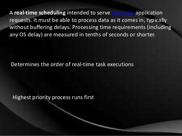 Real Time Scheduling In Operating System For Msc Cs
