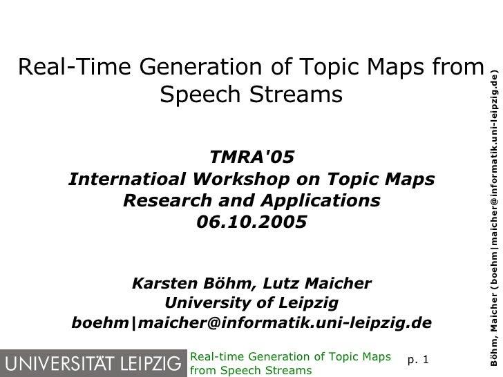 Real-Time Generation of Topic Maps from Speech Streams <ul><ul><li>TMRA'05 </li></ul></ul><ul><ul><li>Internatioal Worksho...