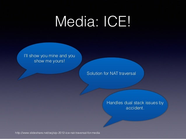 Media: ICE! I'll show you mine and you show me yours! Handles dual stack issues by accident. http://www.slideshare.net/oej...