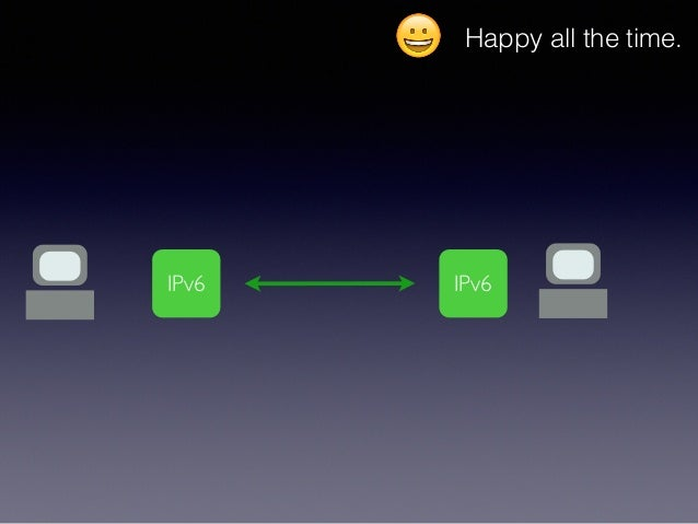 😀 Happy all the time. IPv6 IPv6