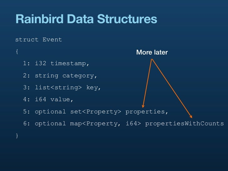 Rainbird Data Structuresstruct Event{                               More later    1: i32 timestamp,    2: string category,...