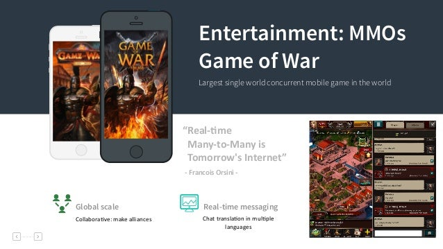"""10 Entertainment: MMOs Game of War Largest single world concurrent mobile game in the world """"Real-‐`me         Ma..."""