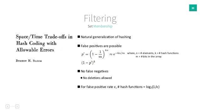 39 Set Membership Filtering   Natural  generalizaAon  of  hashing       False  posiAves  are  possible...