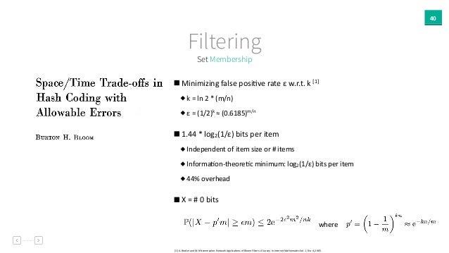 40 Set Membership Filtering   Minimizing  false  posiAve  rate  ε  w.r.t.  k  [1]     k  =  ln  ...