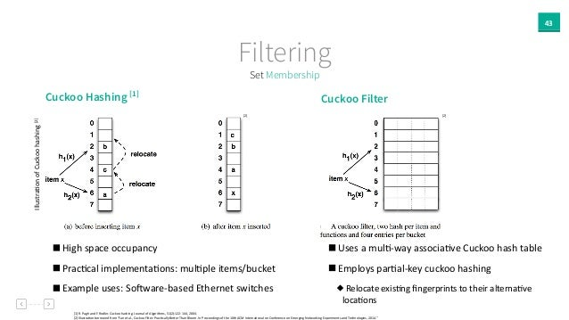 43 Set Membership Filtering [1]  R.  Pagh  and  F.  Rodler.  Cuckoo  hashing.  Journal  of  Algorithms...