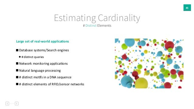 45 Estimating Cardinality Large  set  of  real-‐world  applica`ons     Database  systems/Search  engines...
