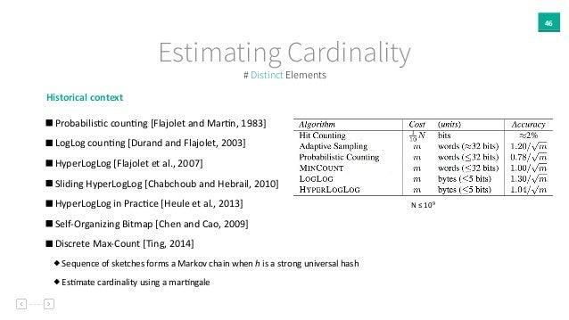 46 Estimating Cardinality Historical  context     ProbabilisAc  counAng  [Flajolet  and  MarAn,  1983]  ...