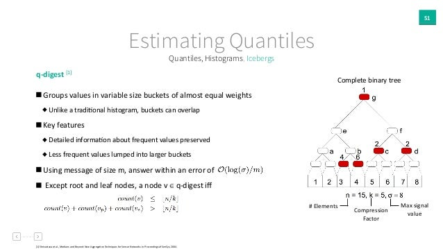 51 Estimating Quantiles q-‐digest  [1]     Groups  values  in  variable  size  buckets  of  almost  ...