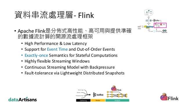 資料串流處理層- Flink • Apache Flink是分佈式高性能、高可用與提供準確 的數據流計算的開源流處理框架 • High Performance & Low Latency • Support for Event Time and...