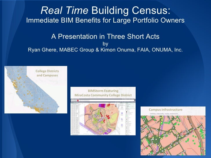 Real Time Building Census:Immediate BIM Benefits for Large Portfolio Owners        A Presentation in Three Short Acts     ...