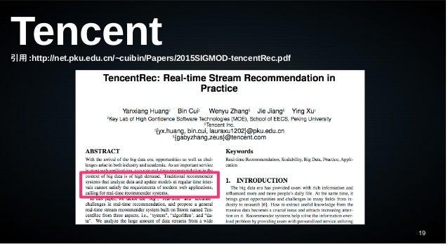 19 Tencent引用 :http://net.pku.edu.cn/~cuibin/Papers/2015SIGMOD-tencentRec.pdf