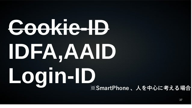 37 Cookie-ID IDFA,AAID Login-ID※SmartPhone 、人を中心に考える場合