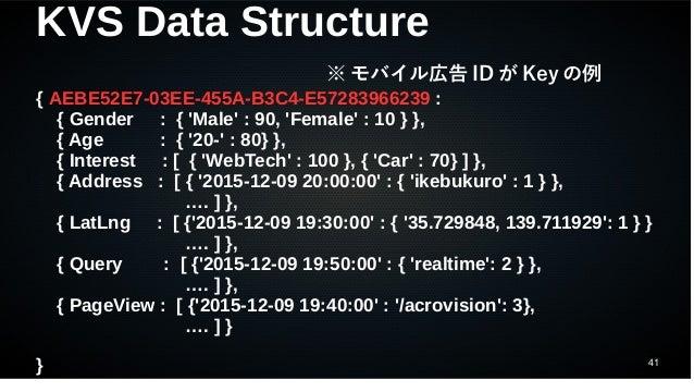 41 KVS Data Structure { AEBE52E7-03EE-455A-B3C4-E57283966239 : { Gender : { 'Male' : 90, 'Female' : 10 } }, { Age : { '20-...