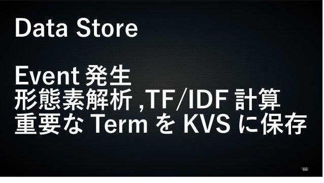 66 Data Store Event 発生 形態素解析 ,TF/IDF 計算 重要な Term を KVS に保存