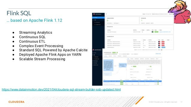 © 2021 Cloudera, Inc. All rights reserved. 17 Flink SQL … based on Apache Flink 1.12 https://www.datainmotion.dev/2021/04/...