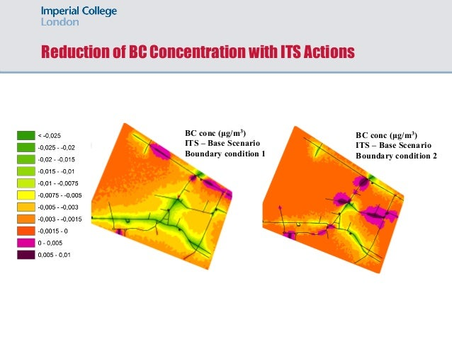 Reduction of BC Concentration with ITS Actions BC conc (µg/m3) ITS – Base Scenario Boundary condition 1 BC conc (µg/m3) IT...